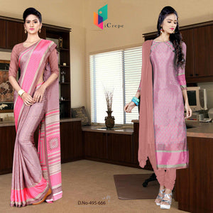 Pink and pink italian crepe silk institute uniform saree salwar combo