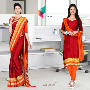 Maroon and orange italian crepe silk office uniform saree salwar combo