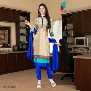Off white and blue italian crepe silk hotel uniform salwar kameez