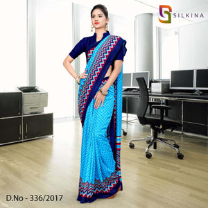 Sky blue with dark blue border Silk Georgette Uniform Saree
