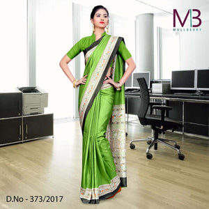 Parrot green and cream Mulberry silk uniform saree