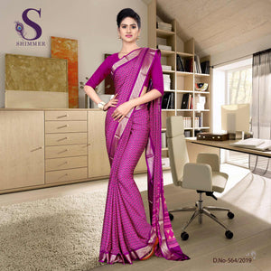 an image of Voilet purple silk crepe jaquard border institute uniform sarees with product logo and sku number