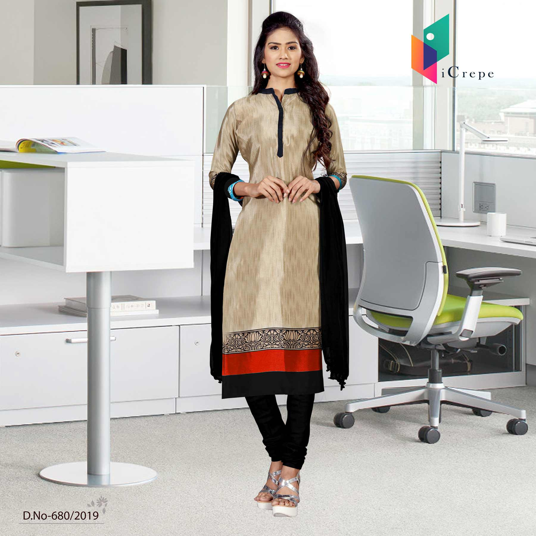 Brown and black italian crepe silk institute uniform salwar kameez