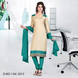 Green and beige uniform salwar kameez