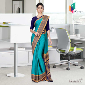 Dark blue and blue italian crepe silk house keeping uniform saree