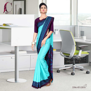 an image of turquoise and purple uniform sarees with brand logo and product sku number