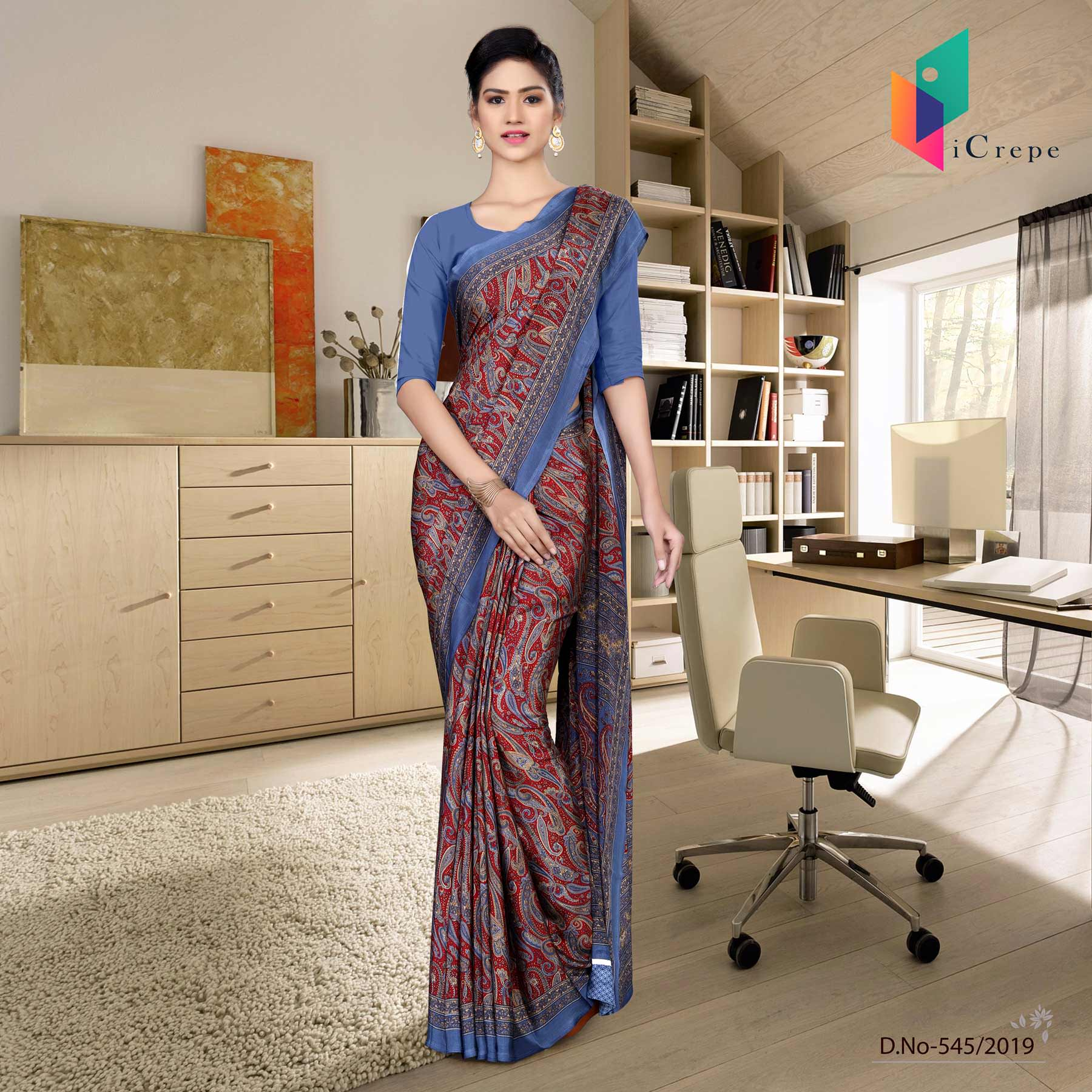Turquoise and blue italian crepe silk corporate uniform saree