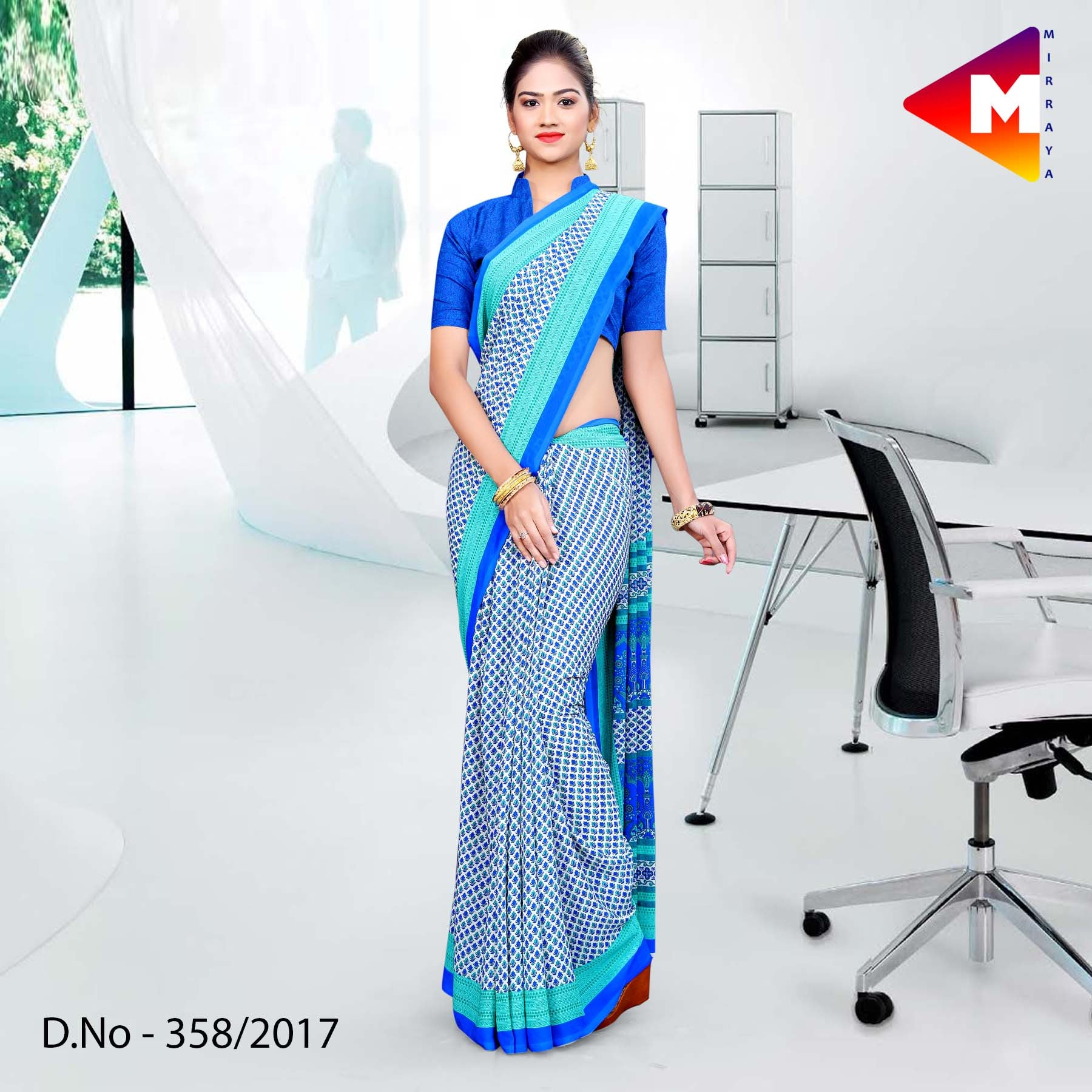 Sky blue Georgette Uniform Saree