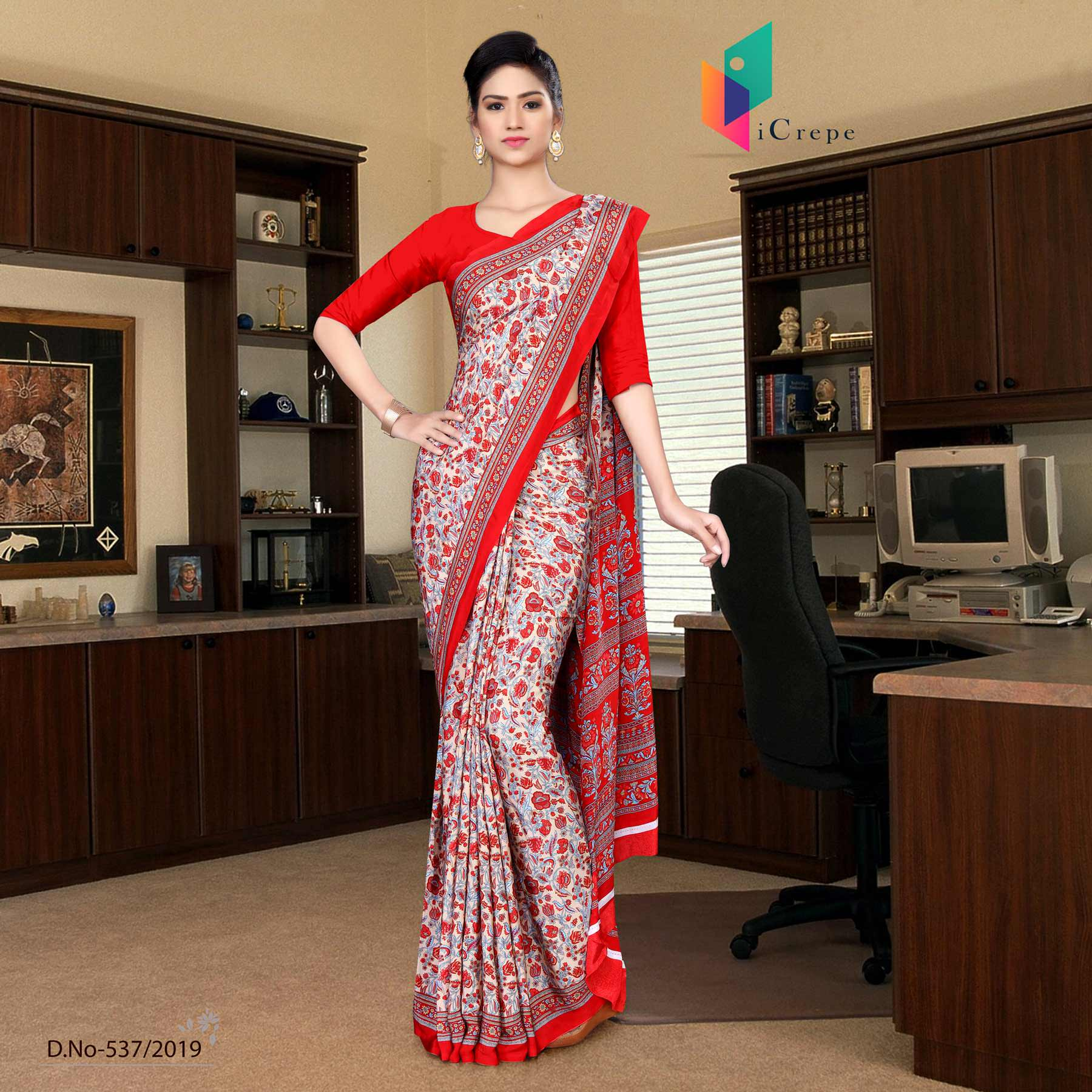 Beige and red italian crepe silk house keeping uniform saree