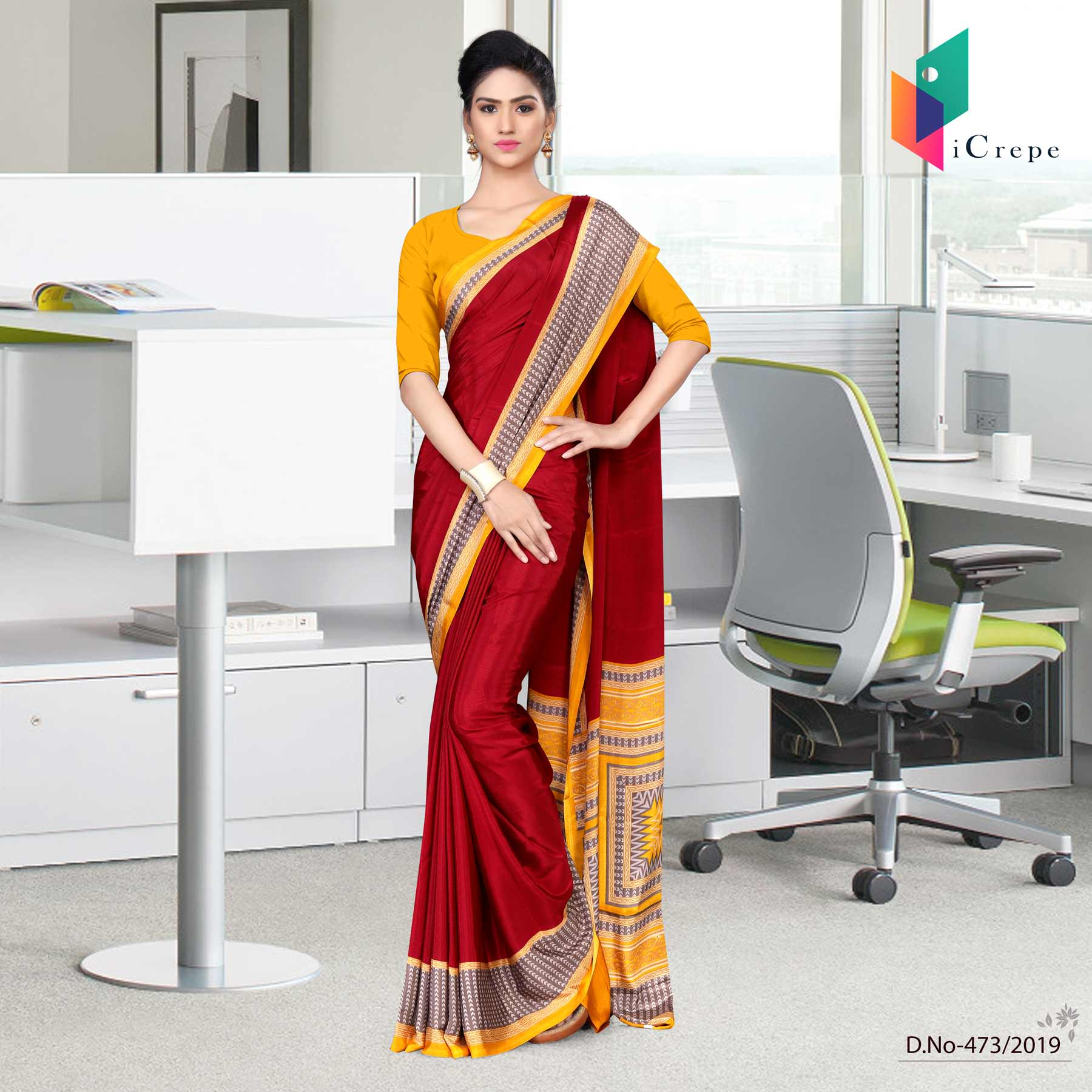 Maroon and yellow italian crepe silk teachers uniform saree