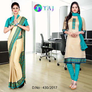 Sea green and beige jacquard crepe Uniform Saree Salwar Combo