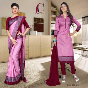 Pink and maroon institute uniform saree salwar combo