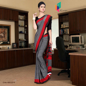 Grey and black italian crepe silk office uniform saree