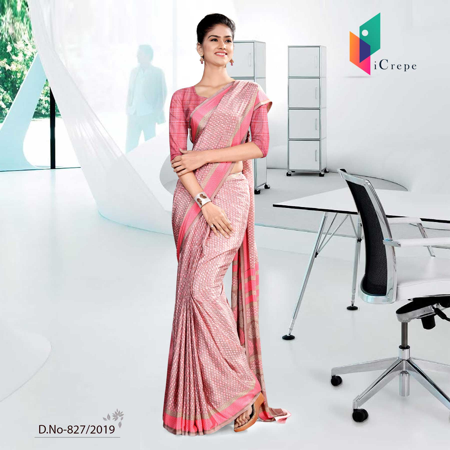 PINK ICREPE  CORPORATE UNIFORM SAREE