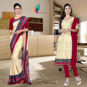 Off white and red italian crepe silk simple uniform saree salwar combo