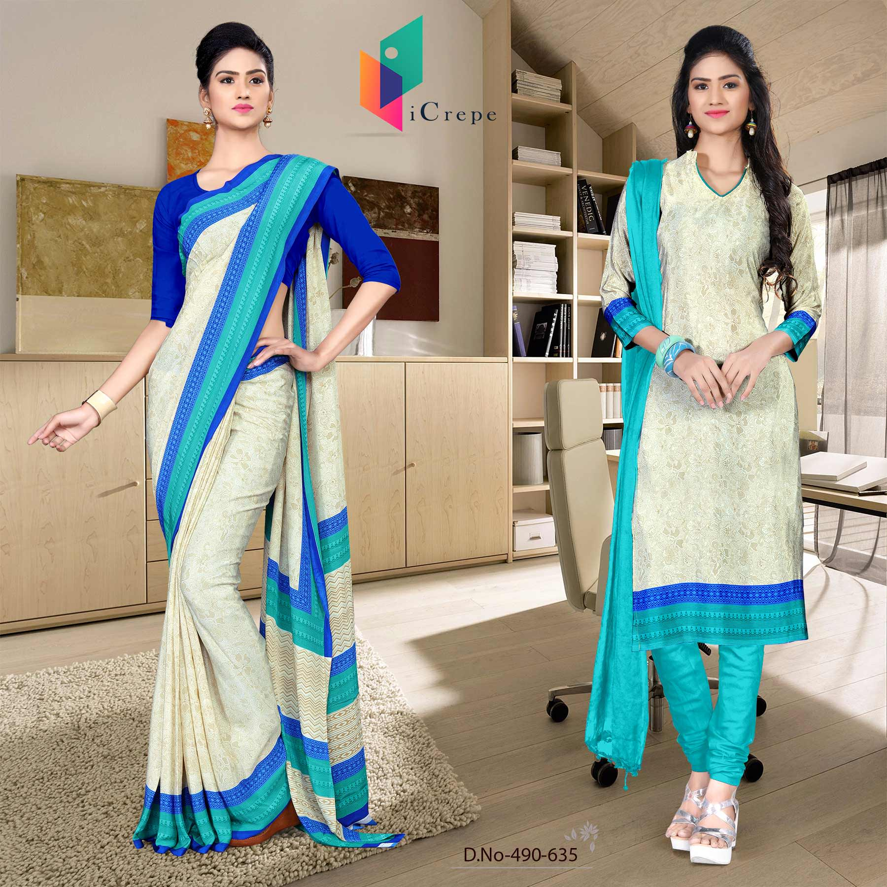 Off white and blue italian crepe silk fancy uniform saree salwar combo