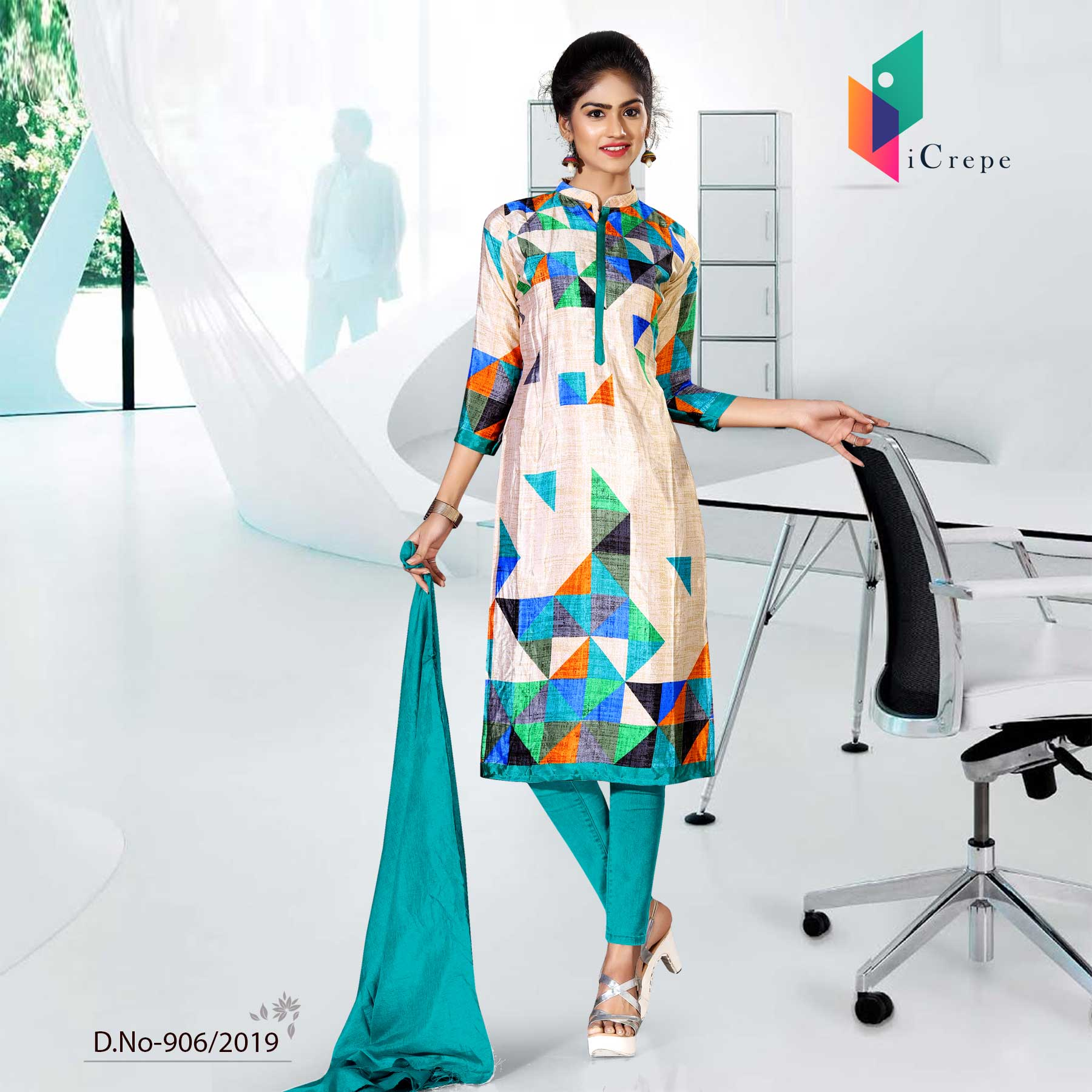 OFF WHITE AND WHITE BLUE CREPE SILK CORPORATE UNIFORM SALWAR KAMEEZ