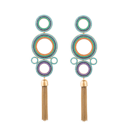 TRIBALE STATEMENT CHAIN EARRINGS