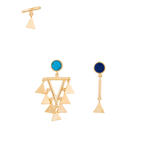 SET OF THREE MULTI TRIANGLE EARRINGS