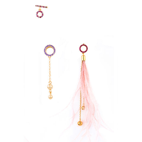 TRIBALE SET OF THREE FEATHER EARRINGS