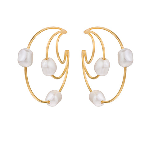 TRIBALE PEARL HOOP EARRINGS