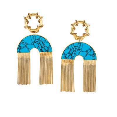TRIBALE LONG CHAIN ARC EARRINGS