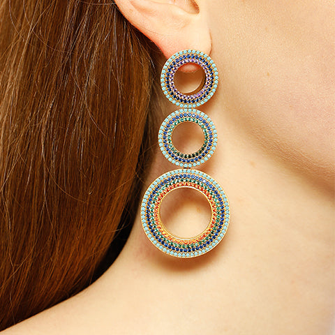 GROMMETS STATEMENT PAVE EARRINGS