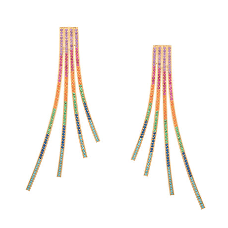 CRISS CROSS RAINBOW STATEMENT EARRINGS