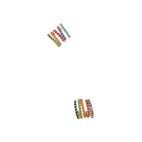 SET OF TWO CRISS_CROSS RAINBOW HOOP EARRINGS