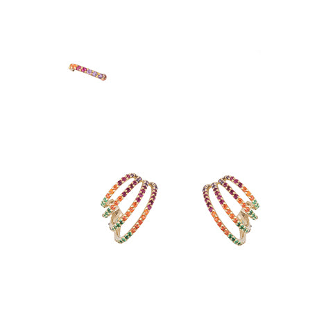 SET OF THREE CRISS-CROSS RAINBOW HOOP EARRINGS