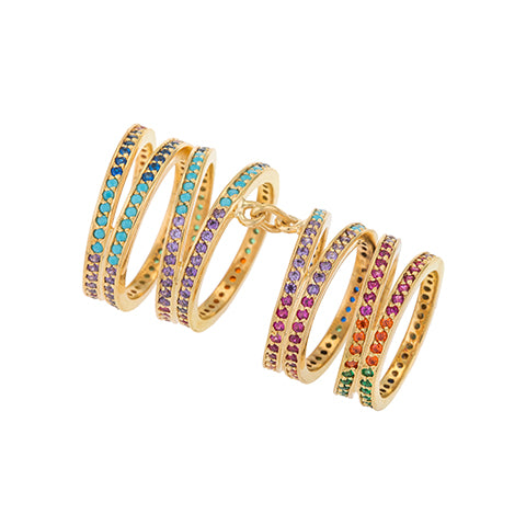 LONG CRISS-CROSS RAINBOW RING