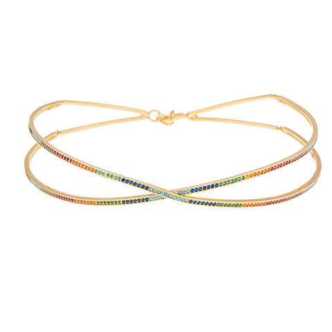 CRISS-CROSS RAINBOW CHOKER NECKLACE