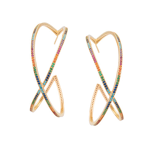 SET OF TWO LARGE CRISS-CROSS RAINBOW HOOP EARRINGS