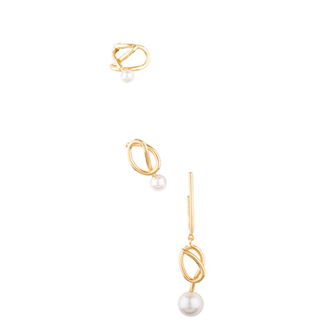 SET OF THREE KNOT PEARL EARRINGS