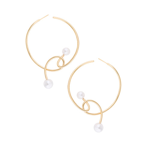 KNOT PEARL HOOP EARRINGS