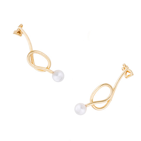 KNOT PEARL EAR-CRAWLER EARRINGS
