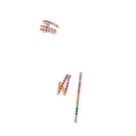 SET OF THREE CRISS-CROSS RAINBOW EARRINGS