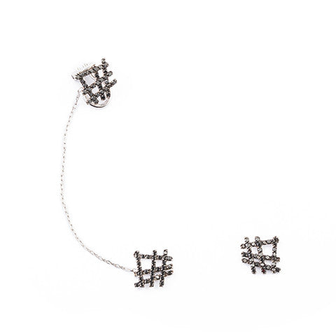 DIAMOND NET EAR-CUFF
