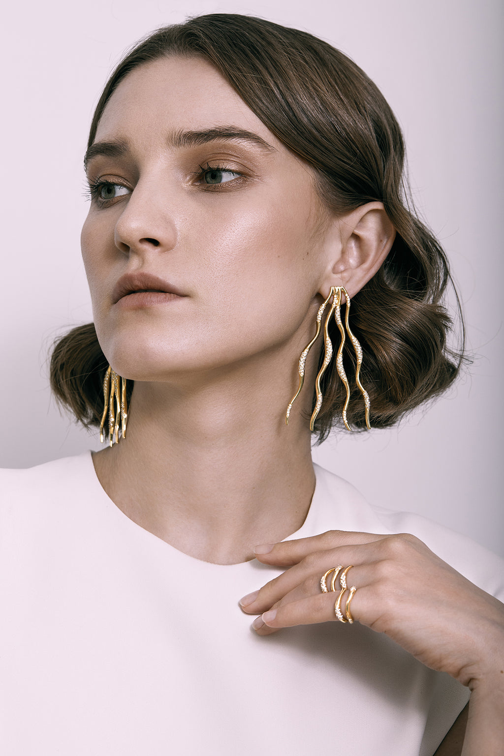 FEMININE WAVES STATEMENT PAVE EARRINGS