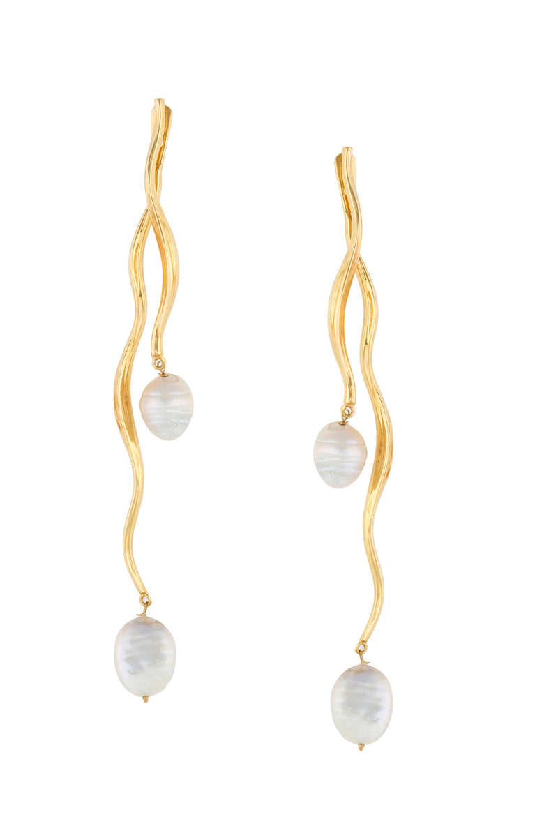 FEMININE WAVES PEARL EAR-JACKET EARRINGS