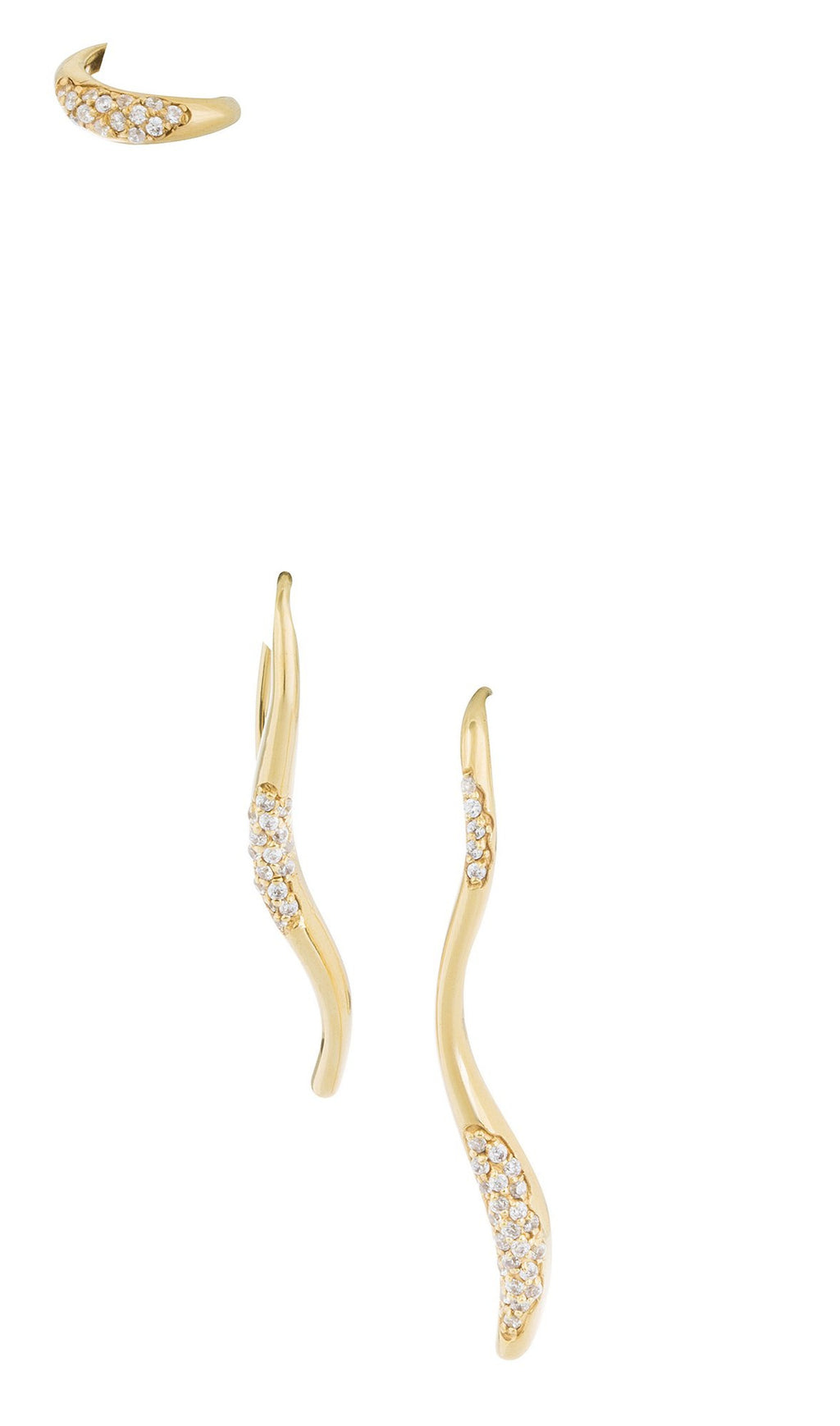 FEMININE WAVES SET OF THREE PAVE EARRINGS