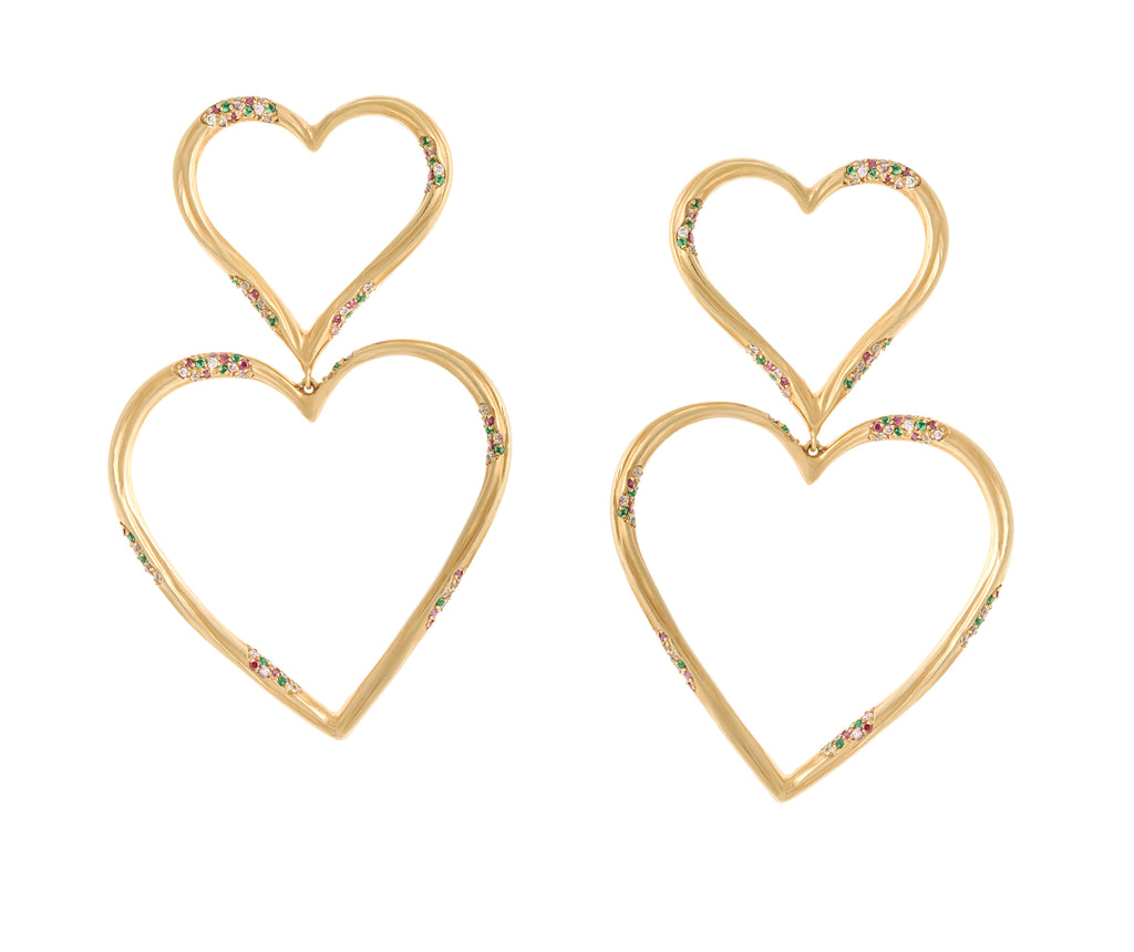 DOUBLE HEART STATEMENT EARRINGS