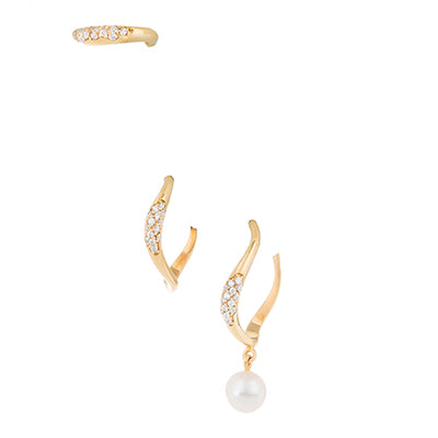 SET OF THREE FEMININE WAVES PAVE HOOP EARRINGS