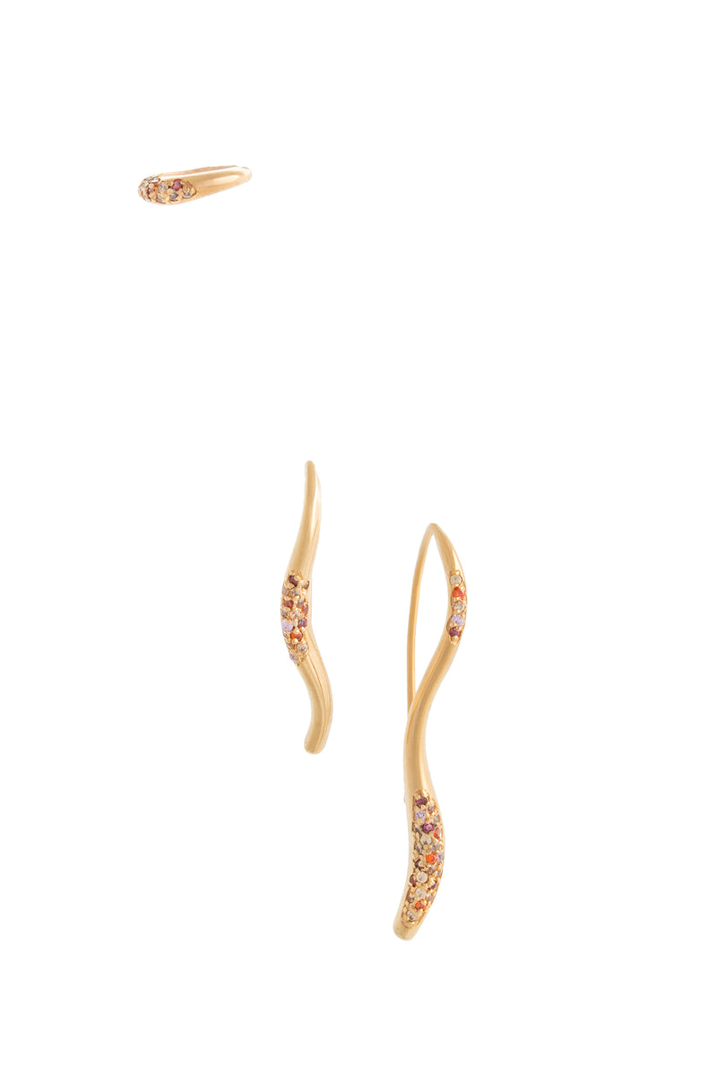 FEMININE WAVES SET OF THREE PAVE EAR-SET