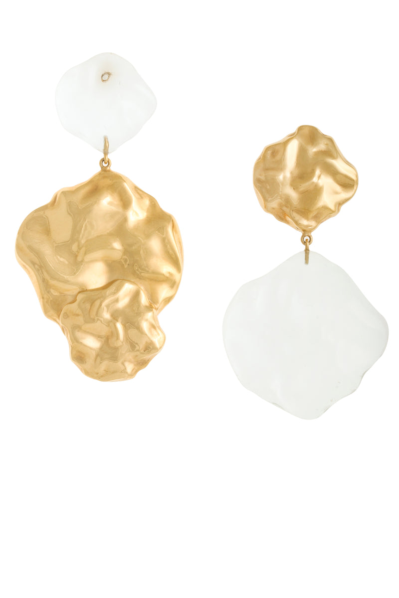 ASYMMETRICAL GOLD PLATED AND TRANSPARENT WAVE EARRINGS