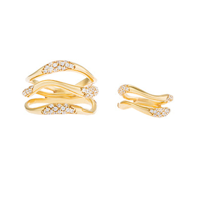 FEMININE WAVES SET OF TWO PAVE RINGS