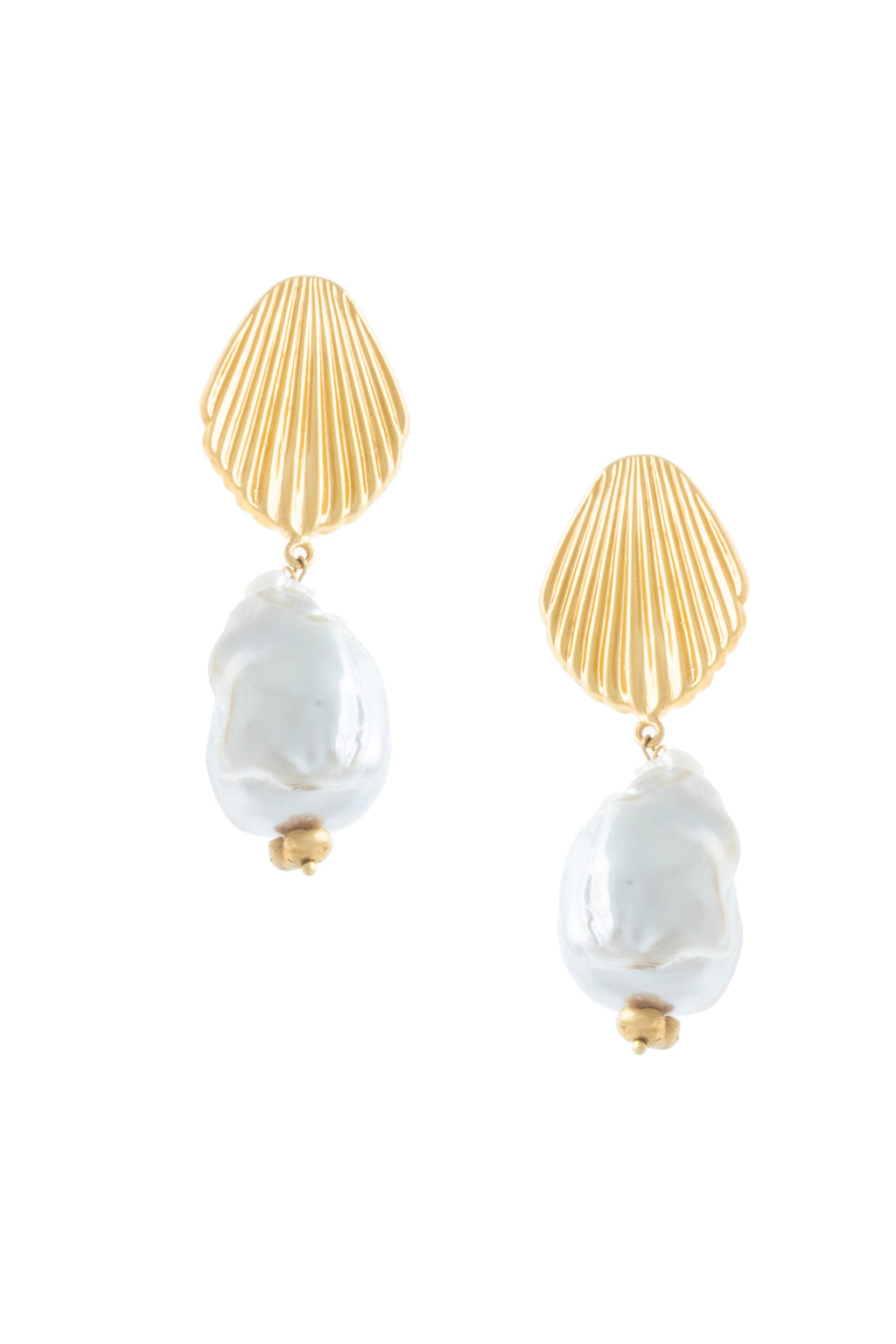 SEASHELL EARRINGS WITH CULTURED PEARLS