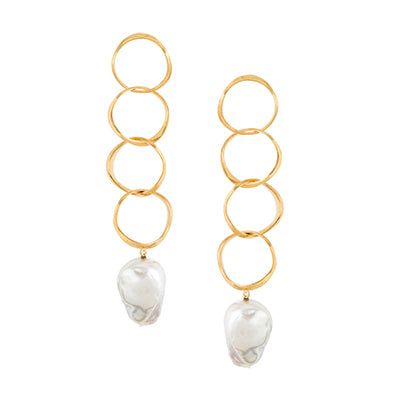 FEMININE WAVES PEARL DANGLING EARRINGS