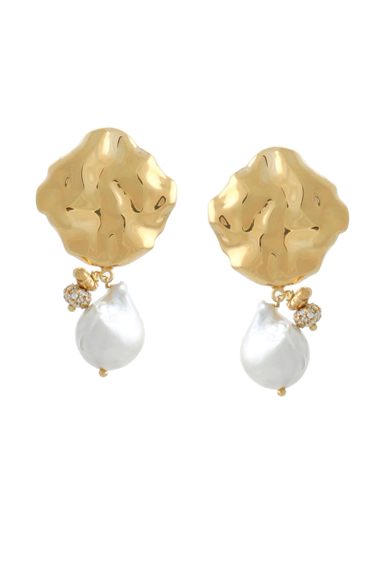 WAVE STUD PEARL EARRINGS