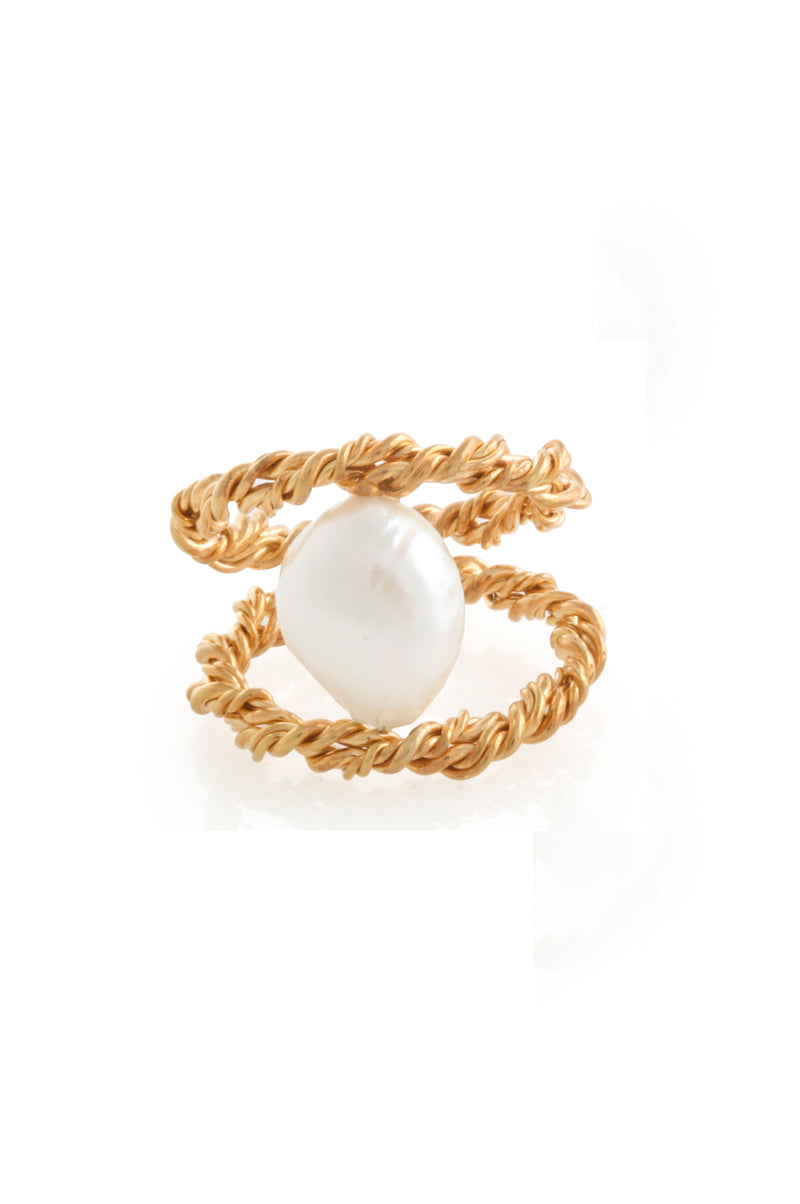 MODERN VINTAGE PEARL TWISTED RING